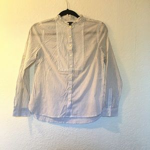 Talbots striped button up ruffle neck career top
